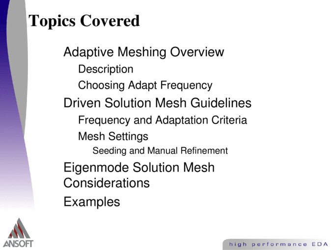 Guidelines for Meshing in Ansoft HFSS